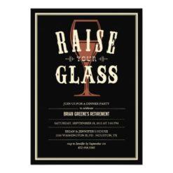 Black Vintage Raise Your Glass Party Invitation Card
