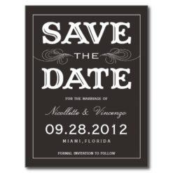 Black Vintage | Save The Date Announcement Postcard