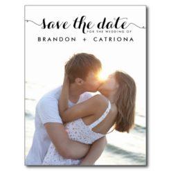 Black Whimsical Script Save The Date Postcard