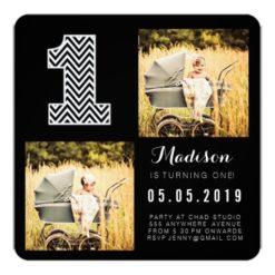 Black & White Chevron 1St Birthday Photo Cards Square Invitation Card