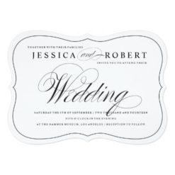 Black & White Elegant Script Wedding Invitation Card