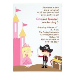 Blonde Princess And Pirate Invitation Card