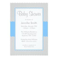 Blue And Gray Chevron Baby Shower Invitation Card