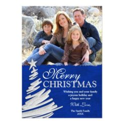 Blue And Silver Christmas Tree Holiday Photo Card Invitation Card