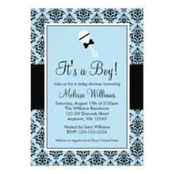 Blue Black Damask Rattle Baby Shower Invitation Card