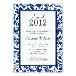 Blue Black Swirl Damask Graduation Announcement Invitation Card