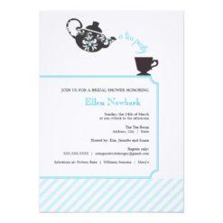 Blue Bridal Shower Invitation - Tea Invitation Card