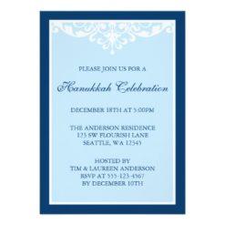Blue Flourish Scroll Hanukkah Holiday Party Invitation Card