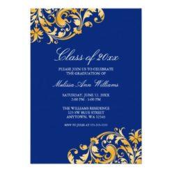 Blue Gold Swirl Graduation Party Announcement Invitation Card