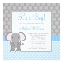 Blue Gray Elephant Polka Dot Boy Baby Shower Square Paper Invitation Card