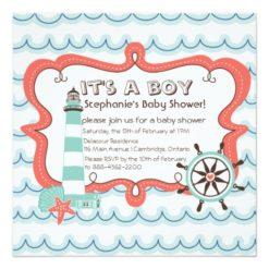 Blue Nautical It'S A Boy Baby Shower Invitation Square Invitation Card