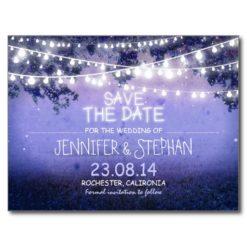 Blue Night Lights Romantic Save The Date Postcard