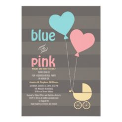 Blue Or Pink Grey Baby Gender Reveal Party Invitation Card