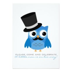 Blue Owl With Mustache Baby Shower Invitation Card