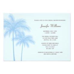 Blue Palm Tree Bridal Shower Invitation Card