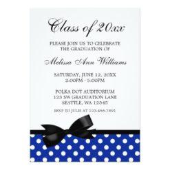 Blue Polka Dot Black Bow Graduation Announcement Invitation Card