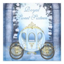 Blue Princess Carriage Enchanted Sweet 16 Square Paper Invitation Card
