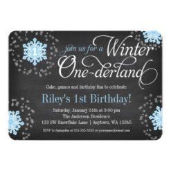 Blue Snowflakes Chalkboard Winter Onederland Invitation Card