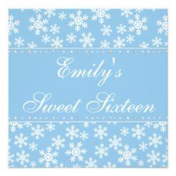 Blue Snowflakes Diamond Sweet 16 Invitations Square Invitation Card