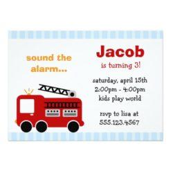 Blue Stripes Fire Truck Birthday Party Invitation Card
