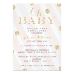 Blush Pink And Gold Baby Shower Invitation Card