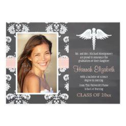 Blush Pink Chalkboard Nursing School Graduation Invitation Card