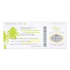 Boarding Pass To Cayman Islands Wedding Invitation Card