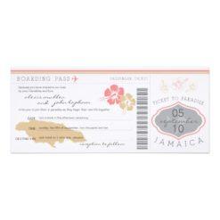 Boarding Pass To Jamaica Wedding Invitation Card