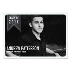 Bold Classic Banner Graduation Photo Announcement Invitation Card