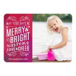 Bold Merry And Bright Holiday Photo Card Invitation Card