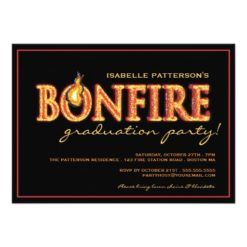 Bonfire Flames Graduation Party Invitation Card