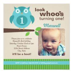 Boy'S Birthday Party Photo Invitation | Owl Theme Square Invitation Card