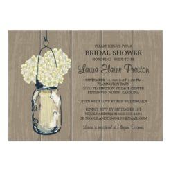 Bridal Shower Barn Wood Mason Jar Hydrangeas Invitation Card