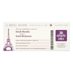 Bridal Shower Boarding Pass To Paris France Invitation Card