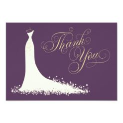 Bridal Shower Flat Thank You Cards | Wedding Gown Invitation Card