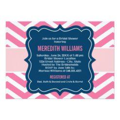 Bridal Shower Invitation | Navy + Pink Chevron Invitation Card