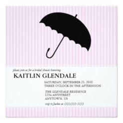 Bridal Shower Invitation With Umbrella Square Invitation Card