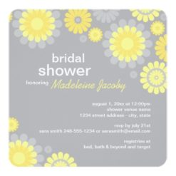 Bridal Shower Invitation   Yellow Gray Daisy Square Invitation Card