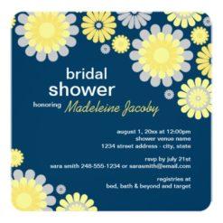 Bridal Shower Invitation | Yellow Gray Daisy Square Invitation Card