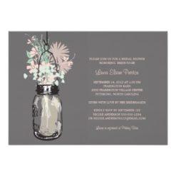 Bridal Shower Mason Jar And Wildflowers Invitation Card