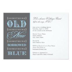 Bridal Shower   Something Old New Borrowed Blue Invitation Card