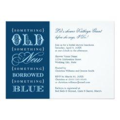 Bridal Shower | Something Old New Borrowed Blue Invitation Card