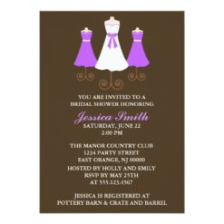 Bride And Bridal Party Gowns Wedding Shower Invitation Card