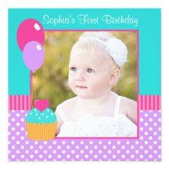 Bright Cupcake Polka Dot Girl 1St Birthday Photo Square Paper Invitation Card
