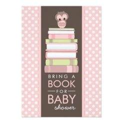 Bring A Book Sweet Girl Owl Baby Shower Invitation Card