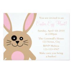 Brown Rabbit Easter Egg Hunt Invitation Card