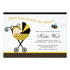 Bumble Bee Baby Shower Invitation Card