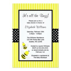 Bumble Bee Striped Dots Baby Shower Invitation Card