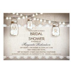 Burlap And Mason Jars Bridal Shower Invitation Card
