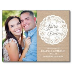 Burlap Lace Doily Save The Date Postcard Post Card